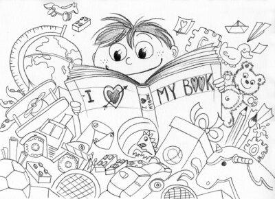 Carta da parati Bambino Che ama la Lettura Realizzato a matita