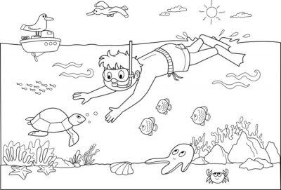 Carta da parati Bambino Che nuota Sotto acqua con i pesci.