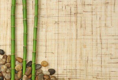Carta da parati Bambou et Cailloux sur toile de fond de iuta