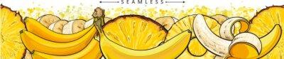 Carta da parati Banana and pineapple seamless pattern or endless border sketch vector illustration.