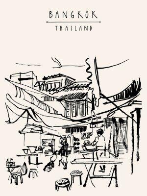 Carta da parati Bangkok Thailandia cartolina disegnata a mano