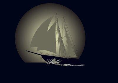 Carta da parati Barca a vela contro uno sfondo di luna
