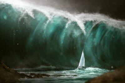 Carta da parati Barca a vela di fronte a uno tsunami