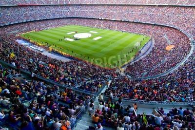 Carta da parati BARCELLONA, SPAGNA - 13 maggio 2011: i sostenitori non identificati FC Barcellona festeggiare la vittoria spagnola Championship League al Camp Nou stadio.