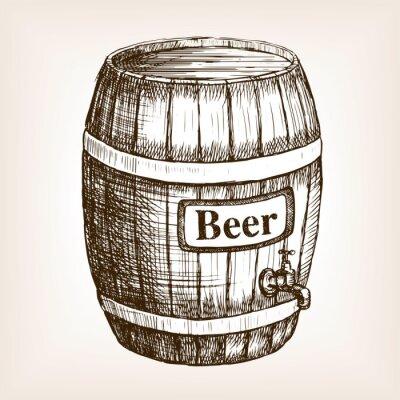 Carta da parati Barile di birra abbozzo di vettore di stile