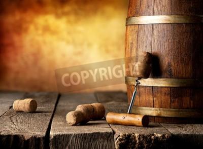 Carta da parati Barrel con vino e cavatappi su un tavolo di legno
