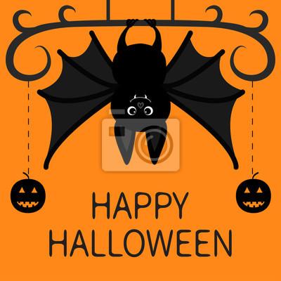 Zucche Di Halloween Cartoni Animati.Carta Da Parati Bat Appeso Fronte Di Sorriso Della Zucca Di Linea Di Dash Felice