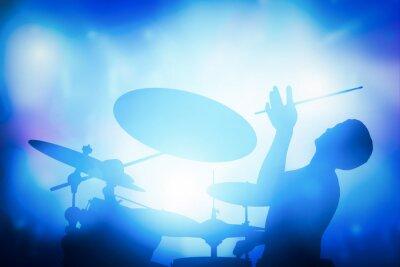 Carta da parati Batterista giocando alla batteria sul concerto di musica. luci Club