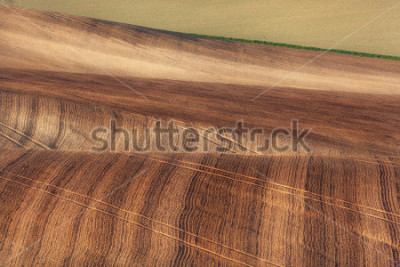 Carta da parati Beautiful concept landscape with striped fields of South Moravia at sunset, abstract background