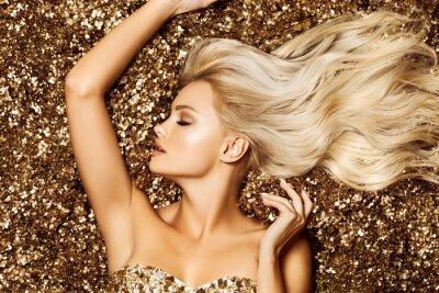 Carta da parati Beautiful hair Girl. Healthy Long Hair. Blonde woman in golden flowers garden, princes