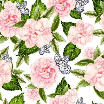Carta da parati Beautiful watercolor seamless pattern with flowers of rose and peony, butterflies.