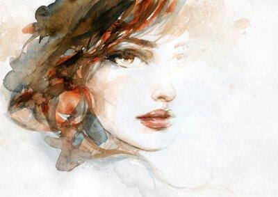 Carta da parati beautiful woman. fashion illustration. watercolor painting