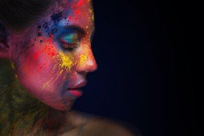 Carta da parati Beautiful woman portrait with bright art make-up