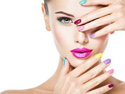 Carta da parati beautiful woman  with colored nails