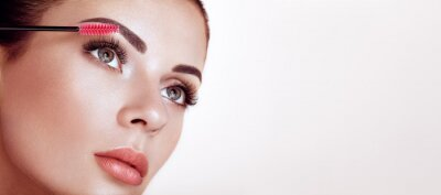 Carta da parati Beautiful Woman with Extreme Long False Eyelashes. Eyelash Extensions. Makeup, Cosmetics. Beauty, Skincare