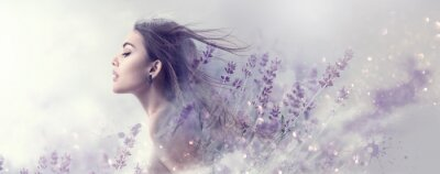 Carta da parati Beauty model girl with lavender flowers . Beautiful young brunette woman with flying long hair profile portrait. Fantasy watercolor
