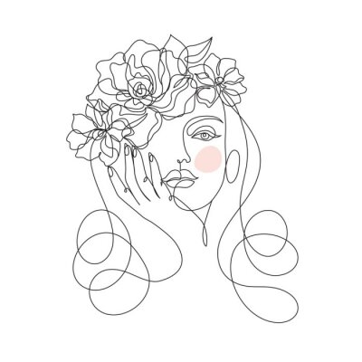 Carta da parati Beauty woman face with flowers one line drawing art. Abstract minimal portrait continuous line. Minimalist Orchids flowers in hair Vector illustration