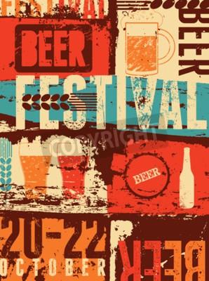 Carta da parati Beer Festival grunge poster in stile vintage. Retro illustrazione vettoriale.