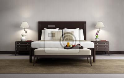 Carta da parati: Beige chic camera da letto di lusso rendering 3d, frontale  con