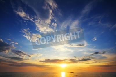 Carta da parati bel paesaggio con tramonto sul mare