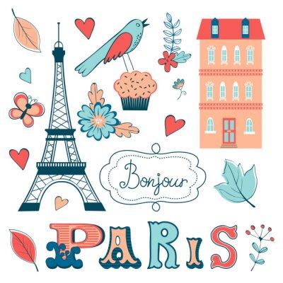 Carta da parati Bella collezione di elementi grafici relativi Parigi