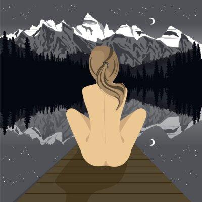 Carta da parati Bella giovane donna nuda seduta sul molo guardando lago di montagna di notte
