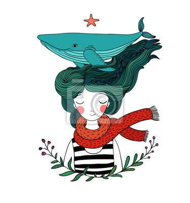 Bella Giovane Marinaio Ragazza Con Una Balena Nei Capelli Animali