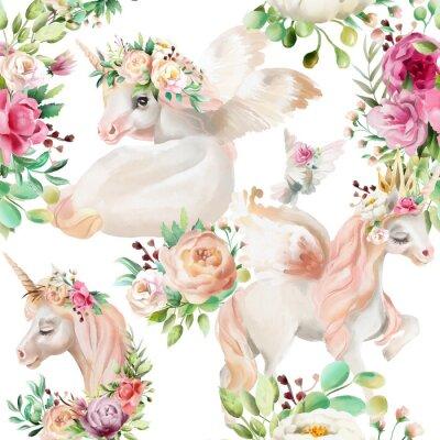 Carta da parati Bella, principessa di unicorni acquerello, pegasus in corona d'oro e floreali, fiori peonia e bouquet di rose e piccione su seamless pattern di sfondo bianco