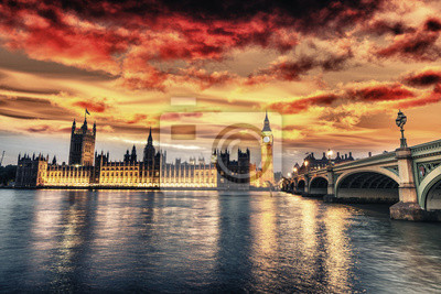Carta da parati Bella vista di Westminster di notte