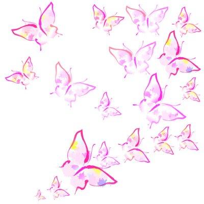 Carta da parati belle farfalle rosa, isolate su un bianco