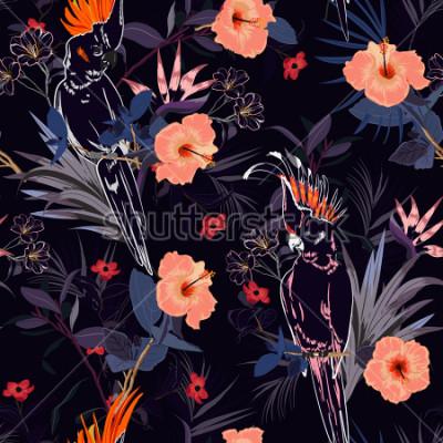 Carta da parati Bellissima stampa floreale. Delineare l'uccello del pappagallo nella giungla e fiori nel design allover foresta esotica immobiliare, modello senza soluzione di continuità per la moda,