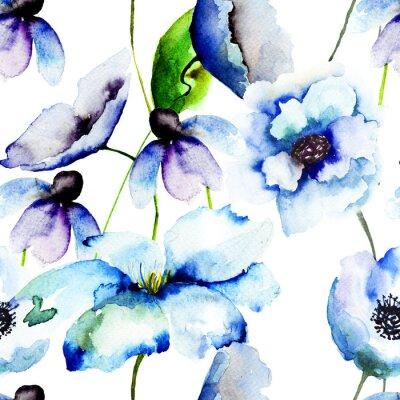 Carta da parati Bellissimi Fiori blu