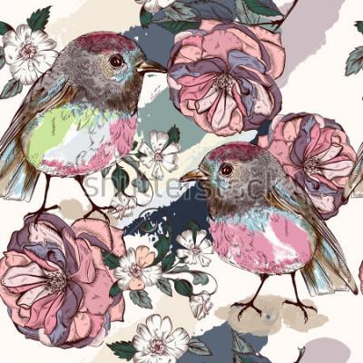 Carta da parati Bellissimo modello botanico in stile vintage con uccelli e rose