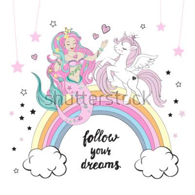 Carta da parati Bellissimo unicorno sirena con scritte segui i tuoi sogni