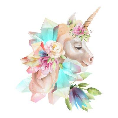 Carta da parati Bello, carino, testa di unicorno dell'acquerello con fiori, corona floreale, bouquet e cristalli magici isolato su bianco