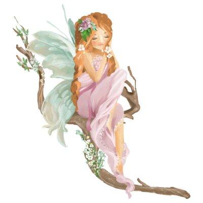 Carta da parati Bello fatato dipinto a mano dell'olio che si siede sul vecchio ramo di legno con il mazzo floreale, corona dei fiori isolata su bianco
