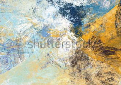 Carta da parati Bello fondo blu e giallo astratto di colore morbido. Texture di pittura dinamica. Modello futuristico moderno Grafica frattale per la progettazione grafica creativa