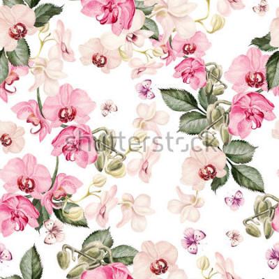 Carta da parati Bello modello acquerello con fiori di orchidea. Illustrazione.