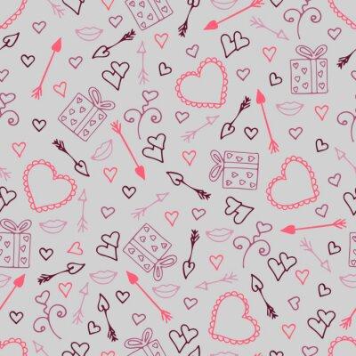 Carta da parati Bello modello senza cuciture con i cuori, frecce per gli amanti.
