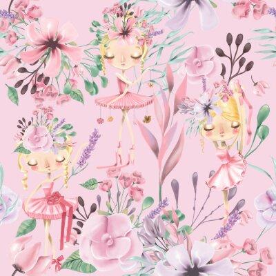 Carta da parati Bello modello senza cuciture floreale dell'acquerello con le ragazze sveglie di balletto, ballerine. Rose astratte, peonia, lillà e rami su sfondo rosa