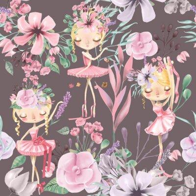 Carta da parati Bello modello senza cuciture floreale dell'acquerello con le ragazze sveglie di balletto, ballerine. Rose astratte, peonia, lillà e rami su sfondo scuro