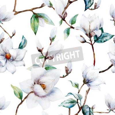 Carta da parati Bello reticolo raster con magnolia bella acquerello fiori