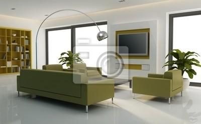 Bianco interni minimal con divano verde, televisore, libreria carta ...