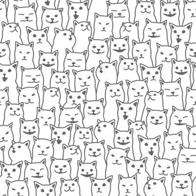 Carta da parati Bianco isolato del fondo della carta da parati del modello senza cuciture di scarabocchio della razza del gattino del gatto