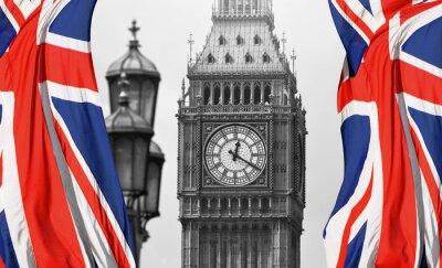 Carta da parati Big Ben a Londra e la bandiera inglese