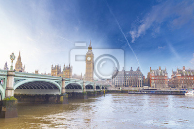 Carta da parati Big Ben and Houses of Parliament with bridge and thames river in