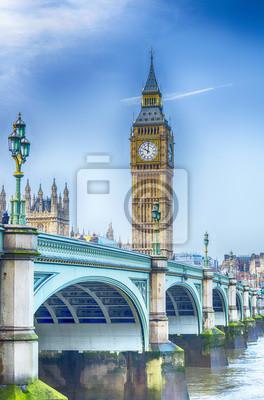 Carta da parati Big Ben con il Westminster Bridge e il fiume Tamigi a Londra