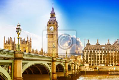 Carta da parati Big Ben con ponte di Westminster e Parlament UE a Londra