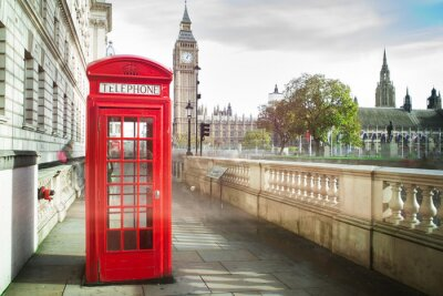 Carta da parati Big Ben e cabina telefonica rossa a Londra