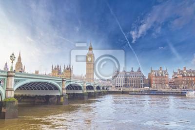 Carta da parati Big Ben e il Parlamento con ponte e il fiume Tamigi a
